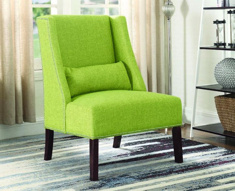 FurnitureMattressDirect- Accent Chair Fabric with Nailhead Details and Accent Pillow - Green A-AC106