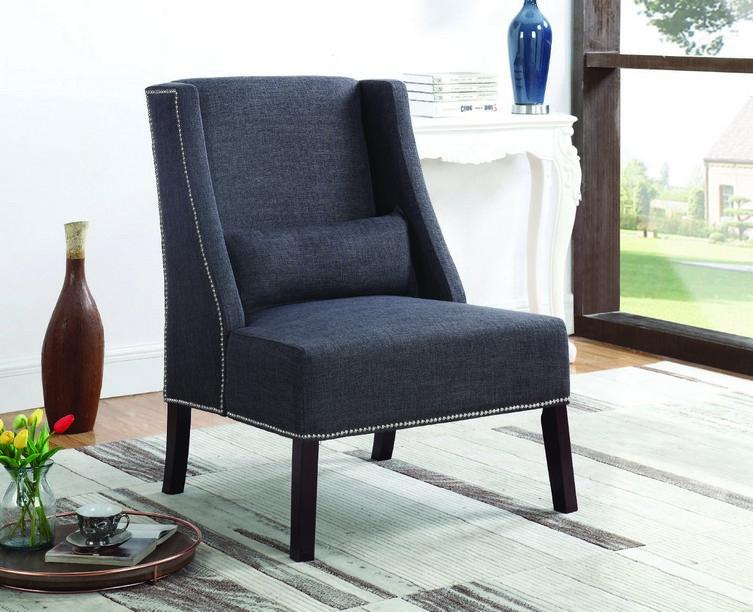 FurnitureMattressDirect- Accent Chair Fabric with Nailhead Details and Accent Pillow - Grey A-AC105