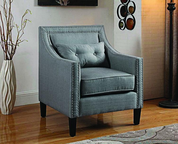FurnitureMattressDirect- ACCENT CHAIR FABRIC WITH NAILHEAD DETAILS AND ACCENT PILLOW - GREY AA