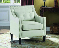 FurnitureMattressDirect- ACCENT CHAIR FABRIC WITH NAILHEAD DETAILS AND ACCENT PILLOW - IVORY