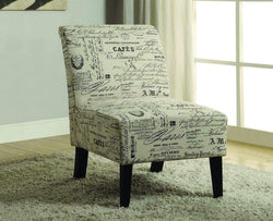 FurnitureMattressDirect- ACCENT CHAIR FRENCH SCRIPT FABRIC WITH WOODEN LEGS - BEIGE