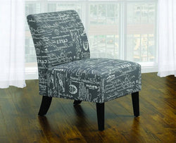 FurnitureMattressDirect- ACCENT CHAIR FRENCH SCRIPT FABRIC WITH WOODEN LEGS - GREY