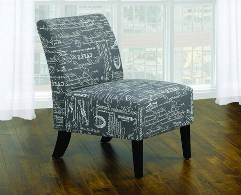 FurnitureMattressDirect- Accent Chair French Script Fabric with Wooden Legs - Grey French Script Fabric A-AC102