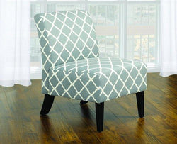 FurnitureMattressDirect- ACCENT CHAIR QUATREFOIL DESIGN FABRIC WITH WOODEN LEGS - GREY  GREEN01