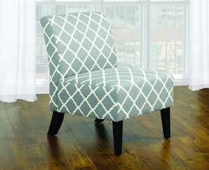 FurnitureMattressDirect- Accent Chair Quatrefoil Design Fabric with Wooden Legs - Grey | Green A-AC101