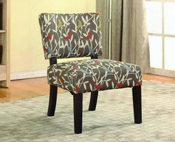 FurnitureMattressDirect- ACCENT CHAIR WITH WOODEN LEGS - GREY