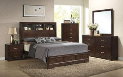 FurnitureMattressDirect- Bedroom Set with Bookcase Headboard 8 pc - Dark Walnut LK-BR24