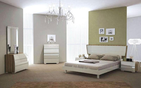 FurnitureMattressDirect- Bedroom Set with Lacquer Head Board 8 pc - Walnut & Light Grey LK-BR1