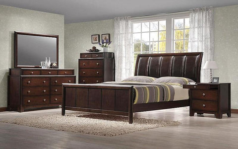 FurnitureMattressDirect- BEDROOM SET WITH LEATHER INSERT CURVED HEAD BOARD 8 PC - DARK WALNUT