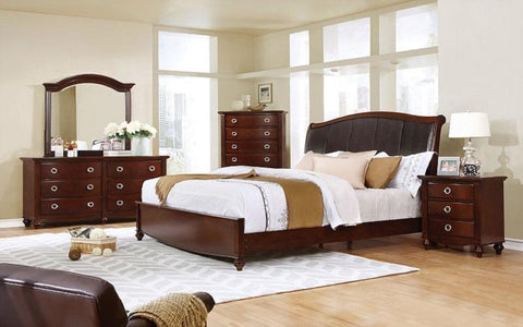 FurnitureMattressDirect- BEDROOM SET WITH LEATHER INSERT HEAD BOARD 8 PC - BROWN CHERRY
