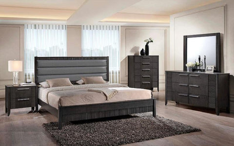 FurnitureMattressDirect- Bedroom Set with Leather Insert Head Board 8 pc - Grey LK-BR10
