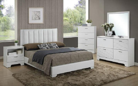 FurnitureMattressDirect- Bedroom Set with Leather Insert Head Board 8 pc - White LK-BR12