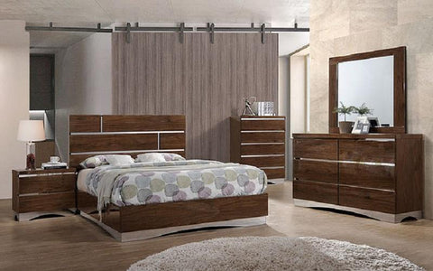 FurnitureMattressDirect- Bedroom Set with Mirror Accents High Gloss Head Board 8 pc - Brown LK-BR14