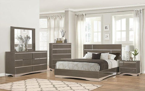 FurnitureMattressDirect- Bedroom Set with Mirror Accents High Gloss Head Board 8 pc - Grey LK-BR15