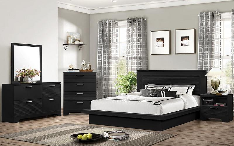 FurnitureMattressDirect- BEDROOM SET WITH STRIP ACCENTED HEAD BOARD - 8 PC - BLACK