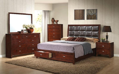 FurnitureMattressDirect- BEDROOM SET WITH TUFTED LEATHER HEAD BOARD 8 PC - BROWN