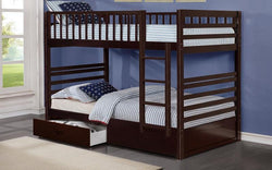 FurnitureMattressDirect- BUNK BED - TWIN OVER TWIN WITH 2 DRAWERS SOLID WOOD - ESPRESSO A29