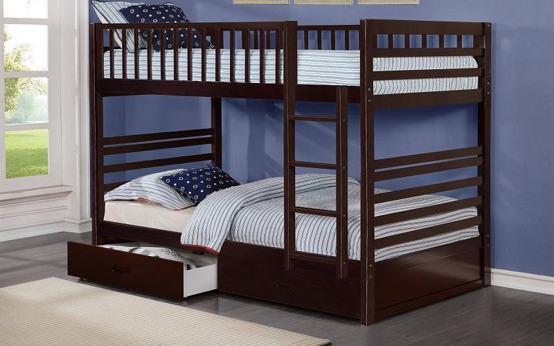 FurnitureMattressDirect- BUNK BED - TWIN OVER TWIN WITH 2 DRAWERS SOLID WOOD - ESPRESSO