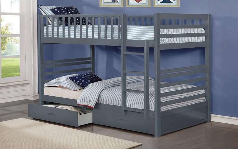 FurnitureMattressDirect- BUNK BED - TWIN OVER TWIN WITH 2 DRAWERS SOLID WOOD - GREY