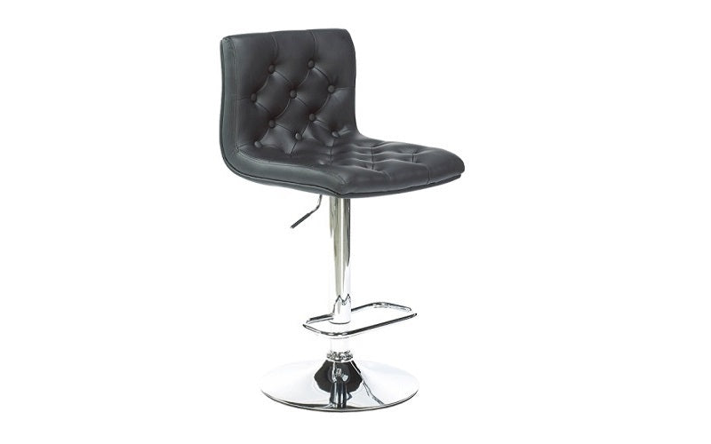 FurnitureMattressDirect- Bar Stool with Button Tufted Leather (Black)01