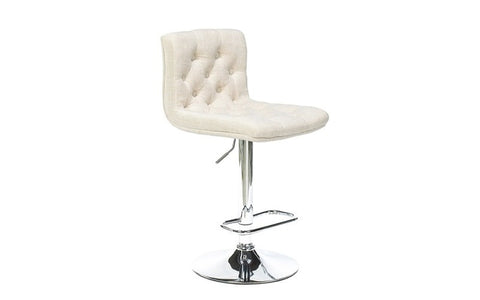 Image of FurnitureMattressDirect- Bar Stool with Button Tufted Linen Fabric (Beige)01