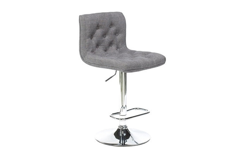 FurnitureMattressDirect- Bar Stool with Button Tufted Linen Fabric (Grey)01