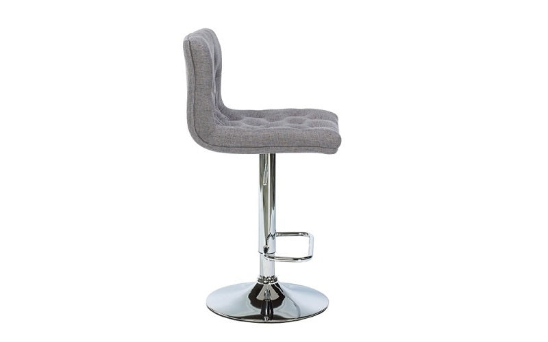 FurnitureMattressDirect- Bar Stool with Button Tufted Linen Fabric (Grey)02