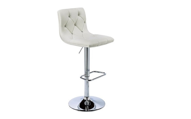 FurnitureMattressDirect- Bar Stool with Crystal Tufted Leather (White)01