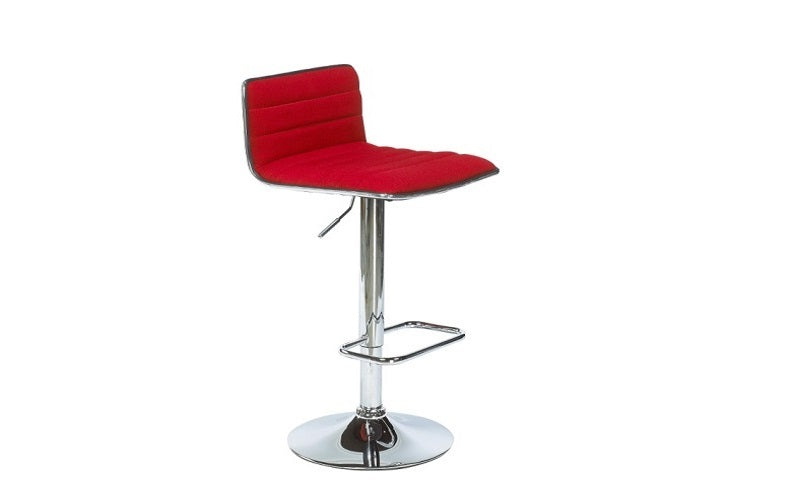FurnitureMattressDirect- Bar Stool with Linen Fabric Low Back (Red)01