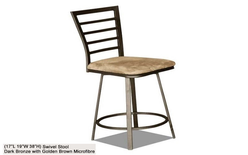 FurnitureMattressDirect- Bar Stool with Metal Back (Bronze Brown)