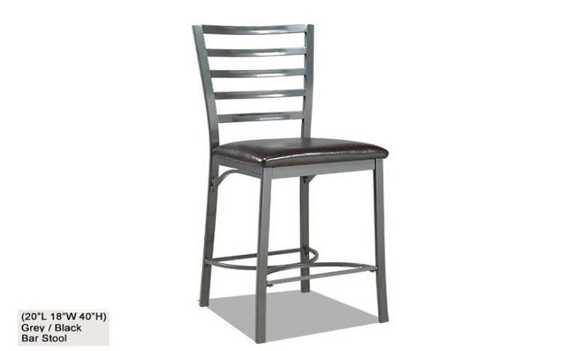 FurnitureMattressDirect- Bar Stool with Metal Back (Grey Black)