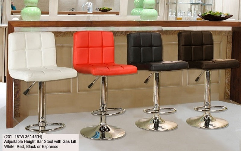 FurnitureMattressDirect- Bar Stool with Square Back (Red)