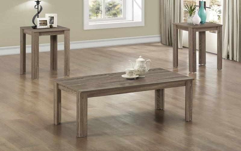 FurnitureMattressDirect- COFFEE TABLE SET - 3 PC - DRIFTWOOD OAK