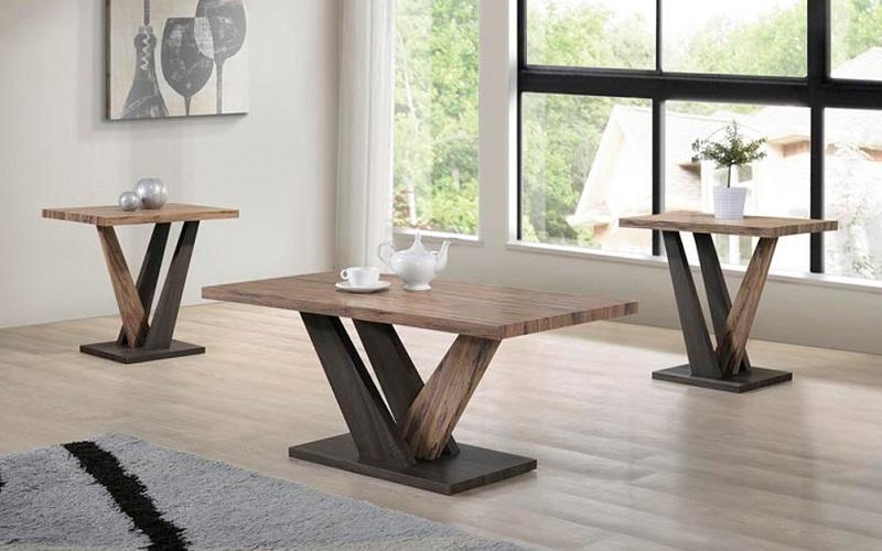 FurnitureMattressDirect- COFFEE TABLE SET - 3 PC - ESPRESSO DISTRESSED OAK