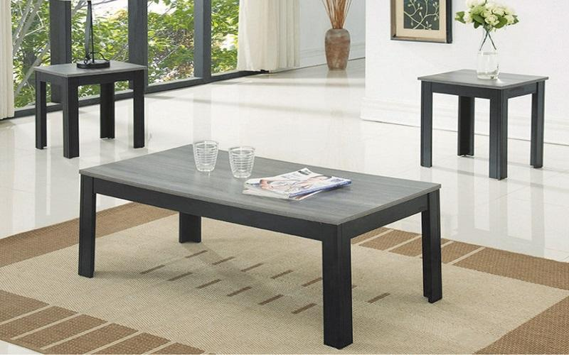 FurnitureMattressDirect- COFFEE TABLE SET - 3 PC - ESPRESSO RECLAIMED WOOD