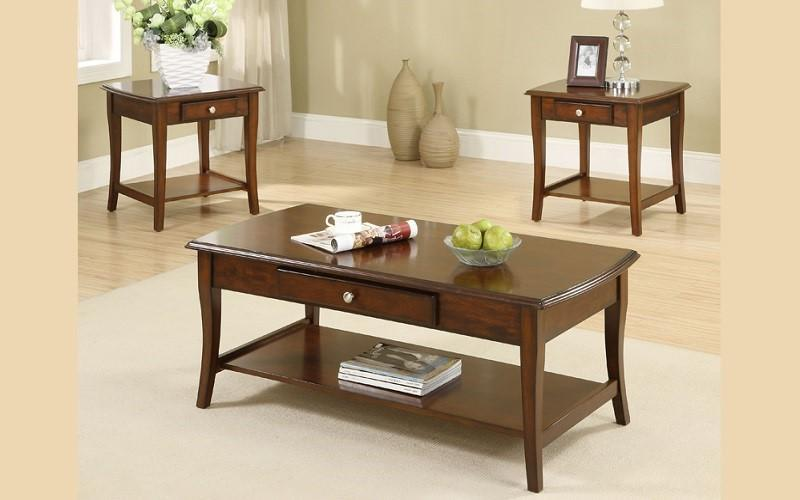 FurnitureMattressDirect- COFFEE TABLE SET WITH DRAWER & SHELF - 3 PC - WALNUT AA
