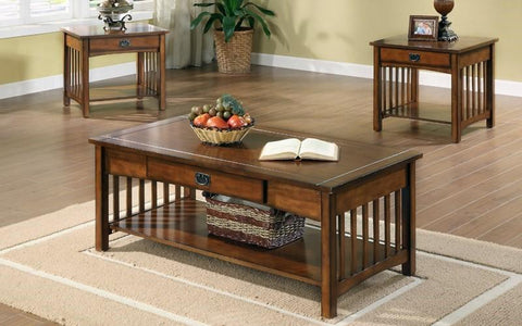 FurnitureMattressDirect- COFFEE TABLE SET WITH DRAWER & SHELF - 3 PC - WALNUT