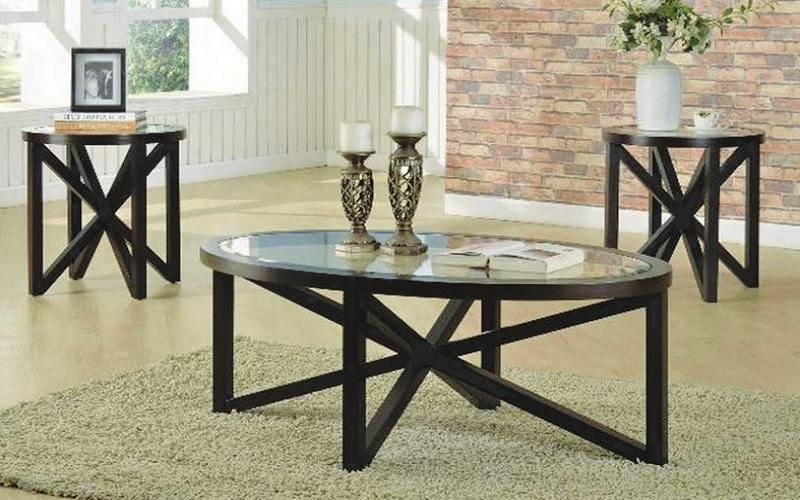 FurnitureMattressDirect- COFFEE TABLE SET WITH GLASS INSERT TOP - 3 PC - ESPRESSO