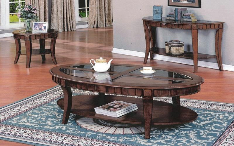FurnitureMattressDirect- COFFEE TABLE SET WITH GLASS INSERT TOP AND SHELF - 3 PC - ESPRESSO BB