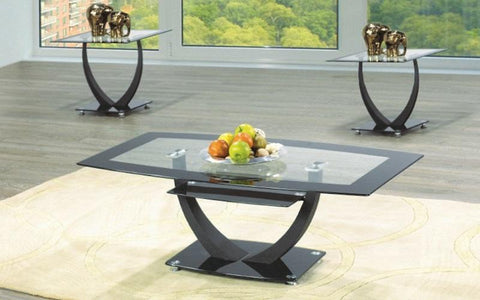 FurnitureMattressDirect- COFFEE TABLE SET WITH GLASS TOP - 3 PC - BLACK