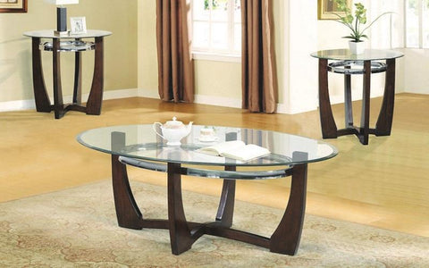 FurnitureMattressDirect- COFFEE TABLE SET WITH GLASS TOP - 3 PC - ESPRESSO