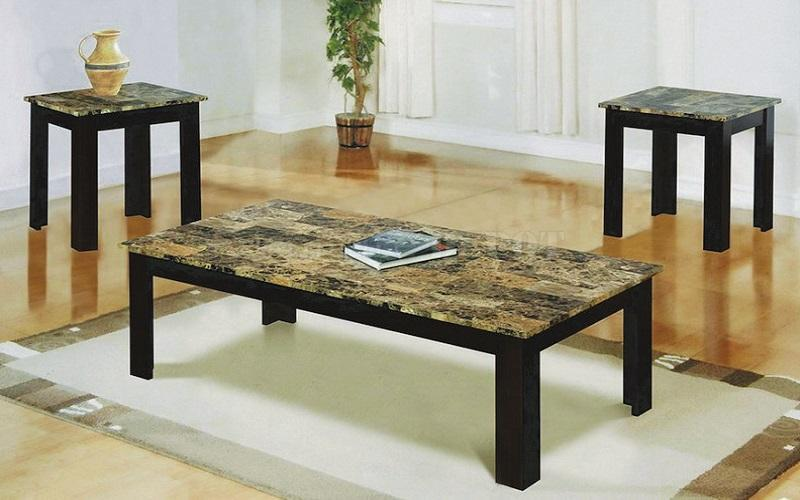 FurnitureMattressDirect- COFFEE TABLE SET WITH MABLE TOP - 3 PC - ESPRESSO  BROWN