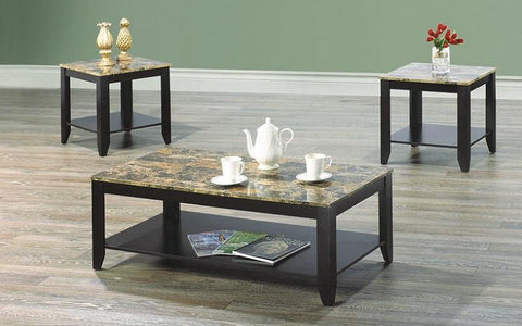 FurnitureMattressDirect- COFFEE TABLE SET WITH MABLE TOP - 3 PC - ESPRESSO  BROWN AA
