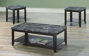FurnitureMattressDirect- COFFEE TABLE SET WITH MABLE TOP - 3 PC - ESPRESSO  GREY AA