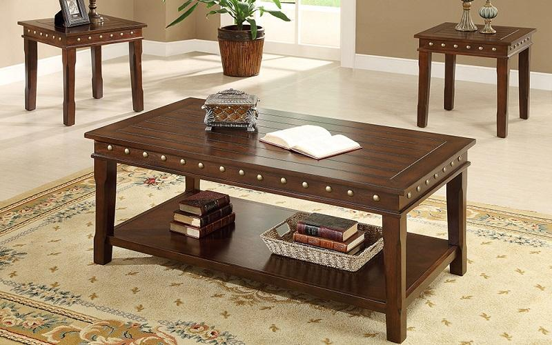 FurnitureMattressDirect- COFFEE TABLE SET WITH NAIL HEADS - 3 PC - WALNUT