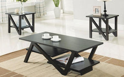 FurnitureMattressDirect- COFFEE TABLE SET WITH SHELF - 3 PC - ESPRESSO AA