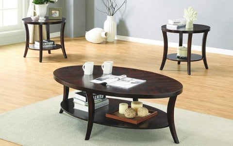 FurnitureMattressDirect- COFFEE TABLE SET WITH SHELF - 3 PC - ESPRESSO BB