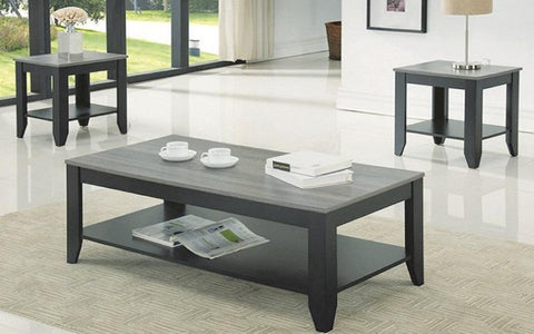 FurnitureMattressDirect- COFFEE TABLE SET WITH SHELF - 3 PC - ESPRESSO  RECLAIMED WOOD