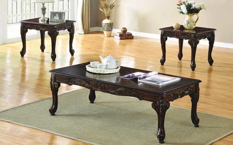 Coffee Table Set With Wood Work Design - 3 Pc - Espresso