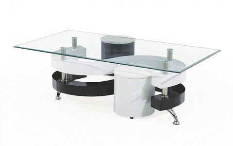 FurnitureMattressDirect- COFFEE TABLE WITH 2 STOOLS - BLACK  WHITE